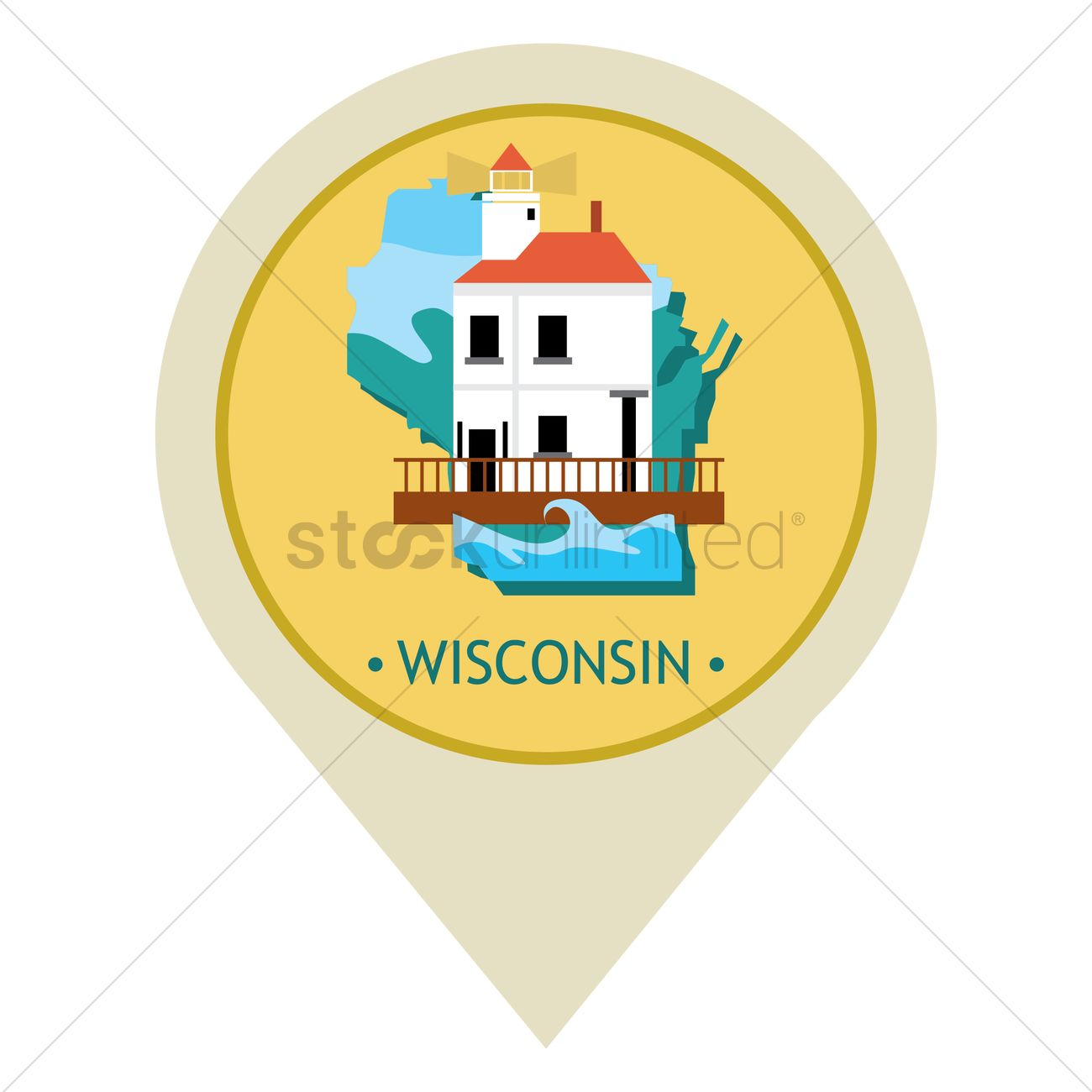 1300x1300 Map Pointer With Wisconsin State Vector Image