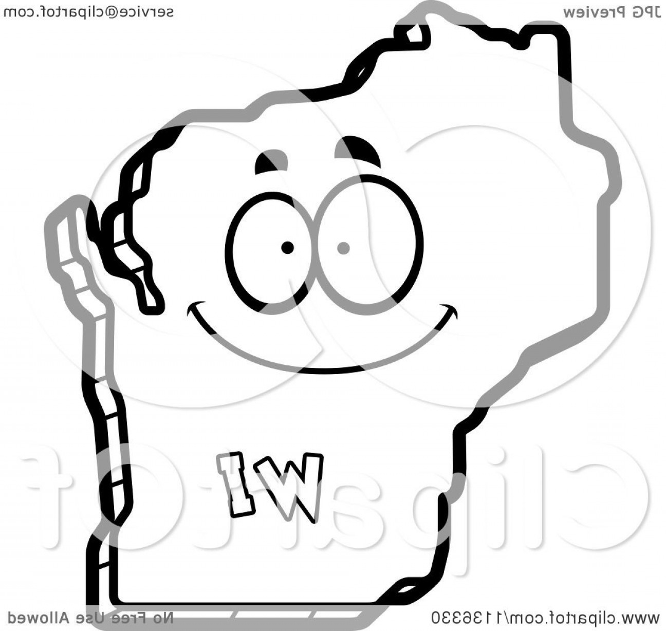 1296x1228 Outlined Happy Wisconsin State Character Lazttweet