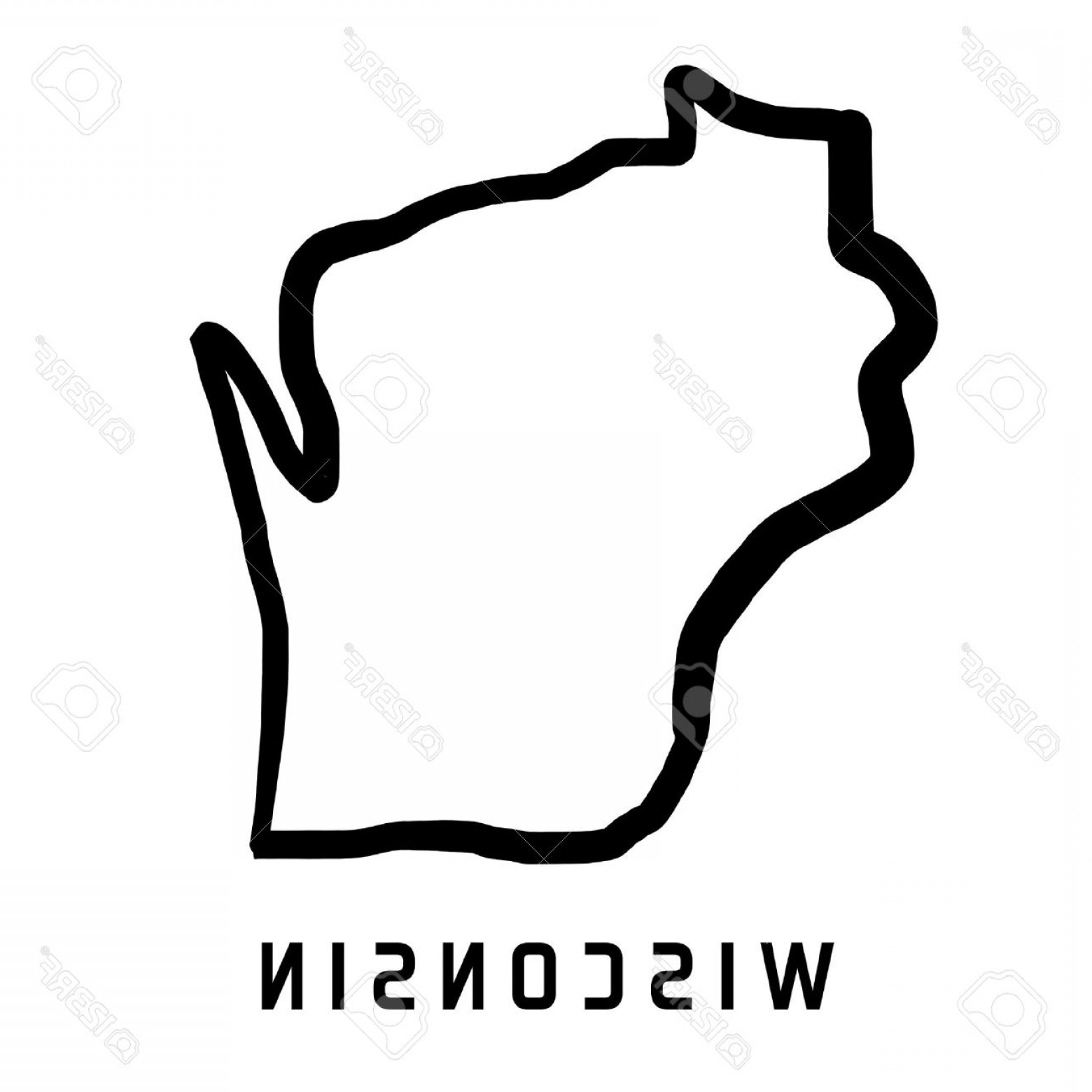 1560x1560 Photostock Vector Wisconsin Map Outline Smooth Simplified Us State