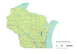 255x181 Preview Of Wisconsin State Vector Road Map.