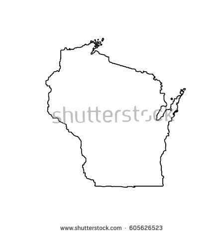 450x470 Wisconsin On Us Map Map Us State Wisconsin Stock Vector 605626523