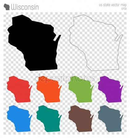 421x450 Wisconsin State Map Outline Wisconsin Outline Stock Vectors