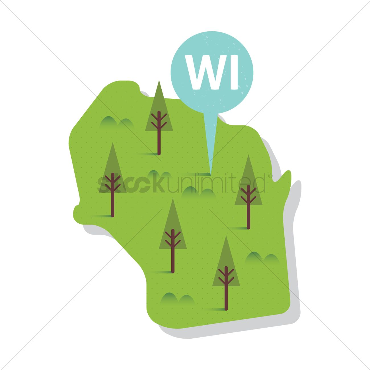 1300x1300 Free Wisconsin State Map Vector Image