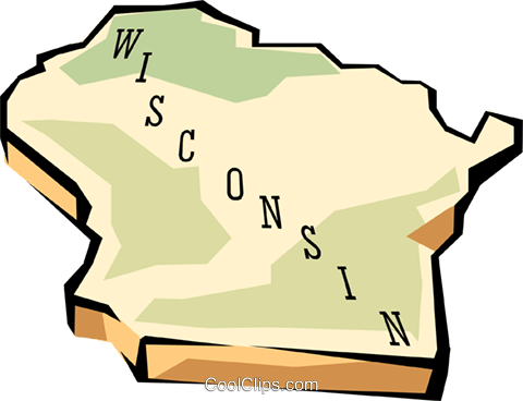 480x368 Wisconsin State Map Royalty Free Vector Clip Art Illustration