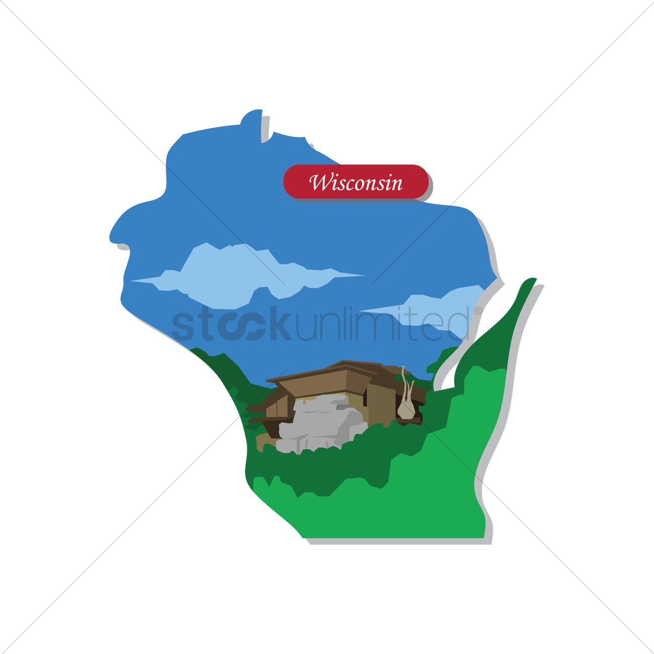 1300x1300 Wisconsin State Map Vector Image