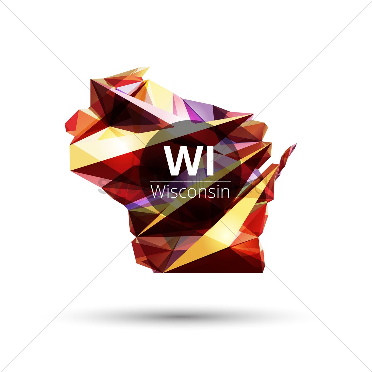 1300x1300 Low Poly Map Of Wisconsin State Vector Image