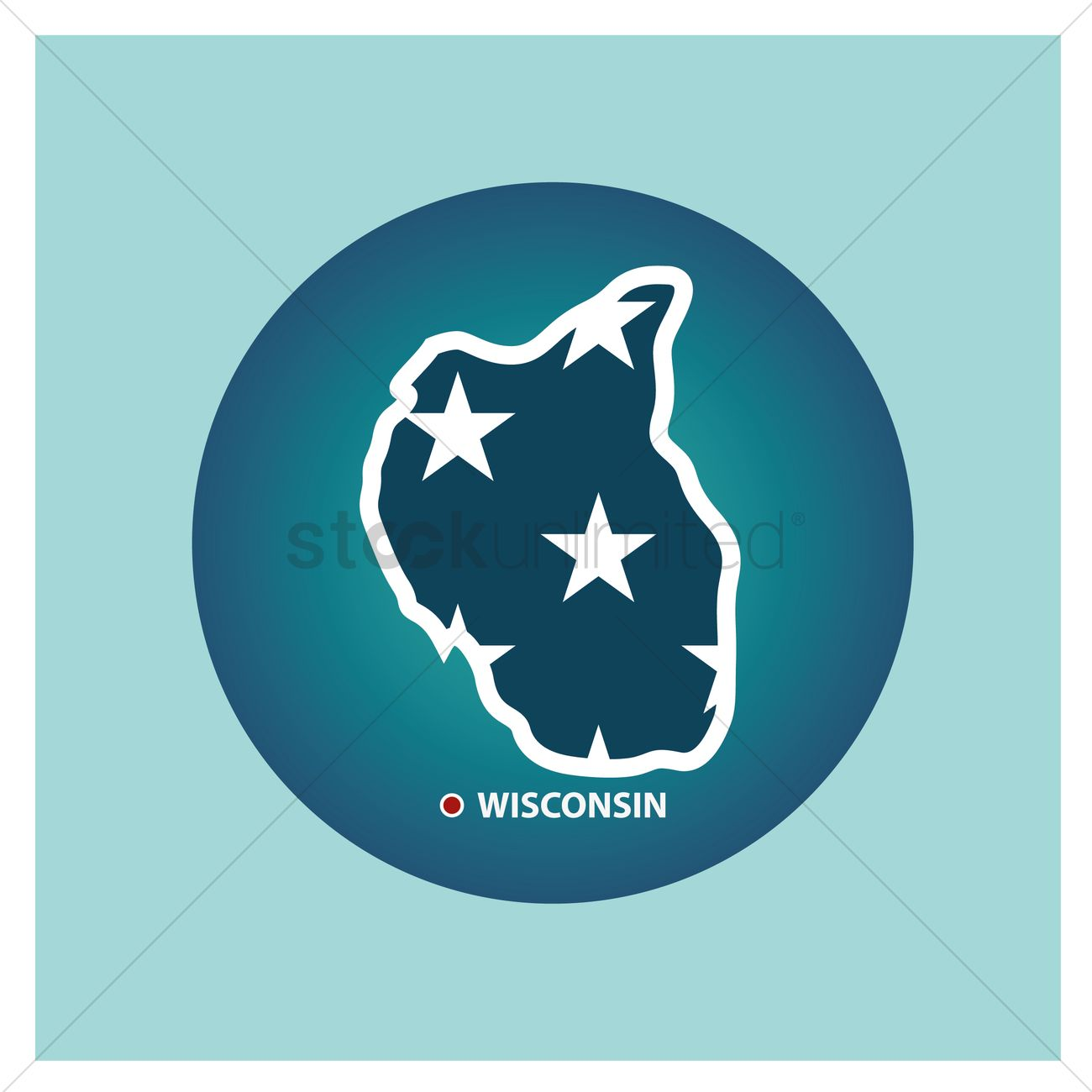 1300x1300 Map Of Wisconsin State Vector Image