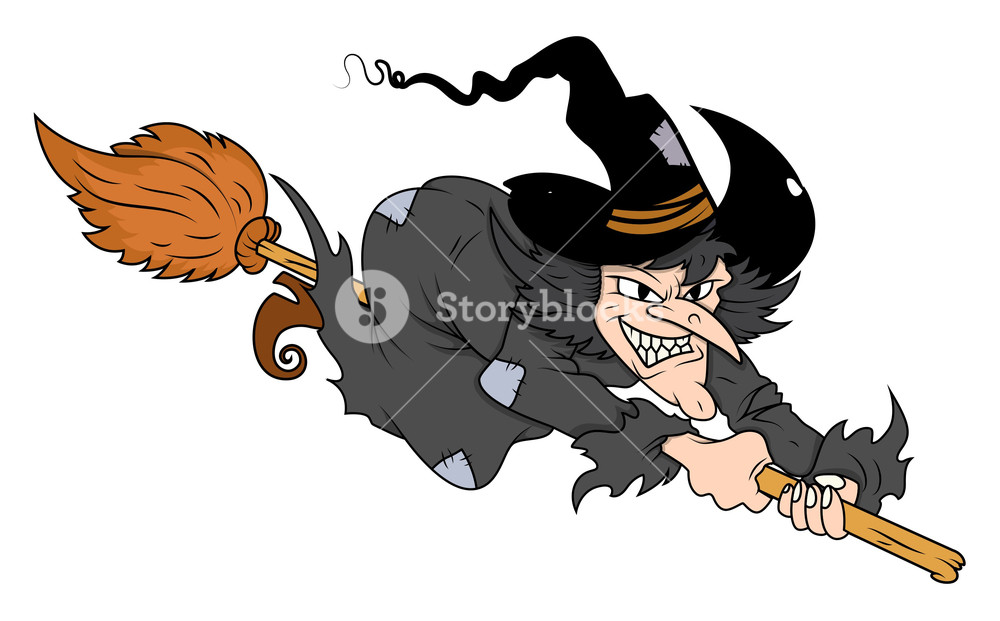 1000x621 Flying Witch On Broom Vector Royalty Free Stock Image