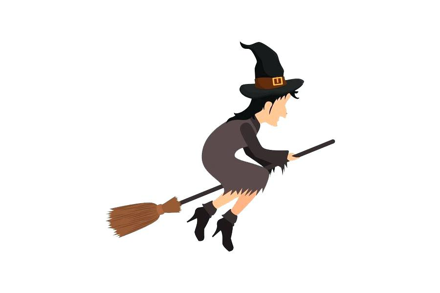 900x600 Cartoon Witches Brooms Cartoon Witch Flying On Her Broom Vector