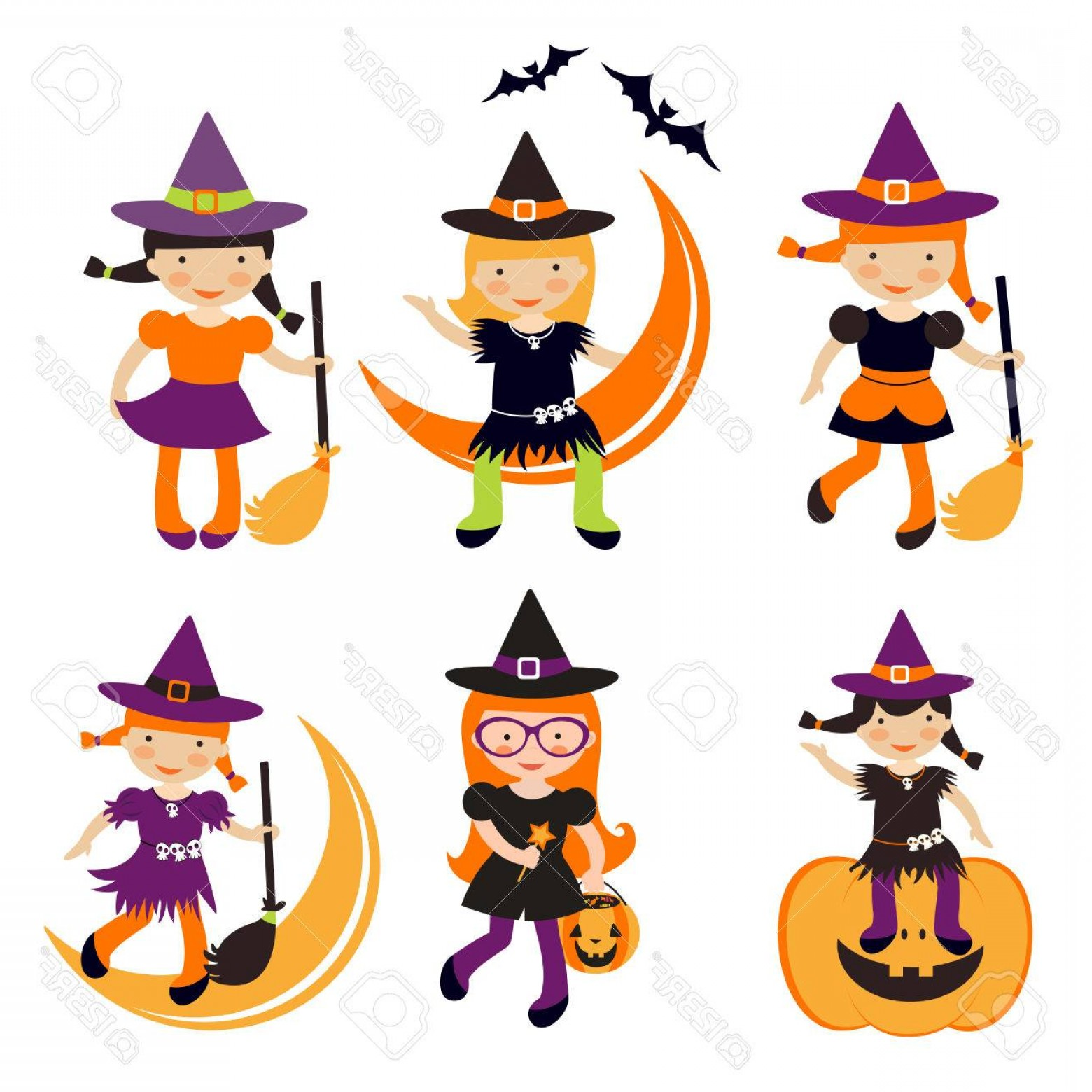 1560x1560 Photostock Vector Cute Collection Of Little Halloween Witches