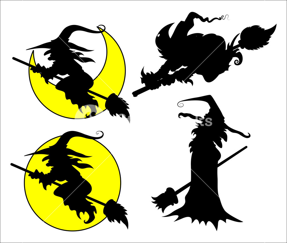 1000x846 Set Of Halloween Witch Vector Silhouettes Royalty Free Stock Image