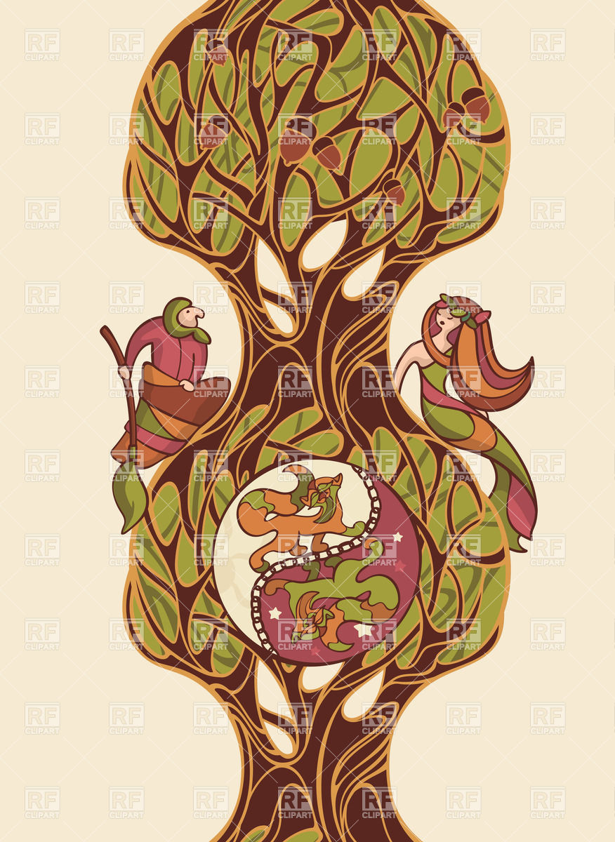 876x1200 Composition With Russian Fairytale Characters Cat, Oak, Mermaid