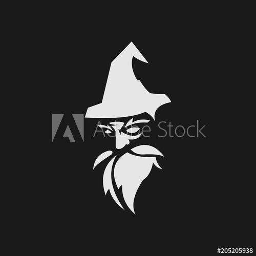 500x500 Old Wise Black Wizard Vector