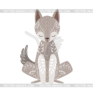 300x300 Wolf Relaxed Cartoon Wild Animal With Closed Eyes