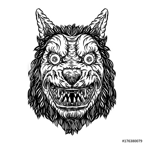 500x500 Angry Smiling Cunning Wolf Mascot Head. Werewolf Blackwork Tattoo