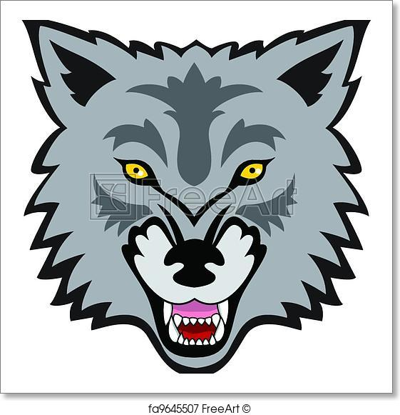 561x581 Free Art Print Of Wolf Face. Vector Illustration Of Wolf Face