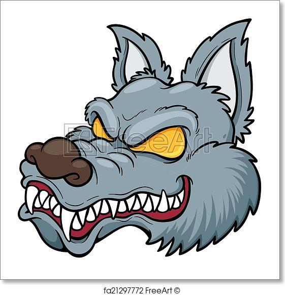 561x581 Free Art Print Of Wolf Face. Vector Illustration Of Cartoon Wolf