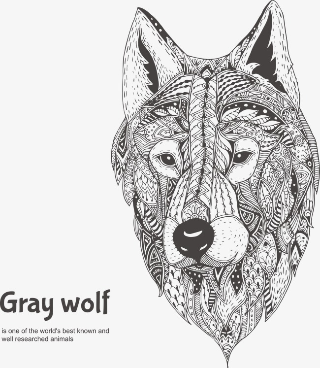 650x747 Hand Painted Pattern Positive Face Gray Wolf, Pattern Vector, Face