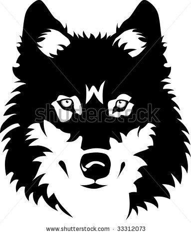 383x470 Vector Illustration Of Wolf Face Black And White Tattoo By