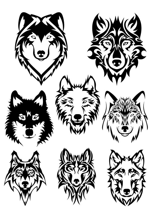 595x842 Wolf Face Silhouette Vector Art Free Vector Download