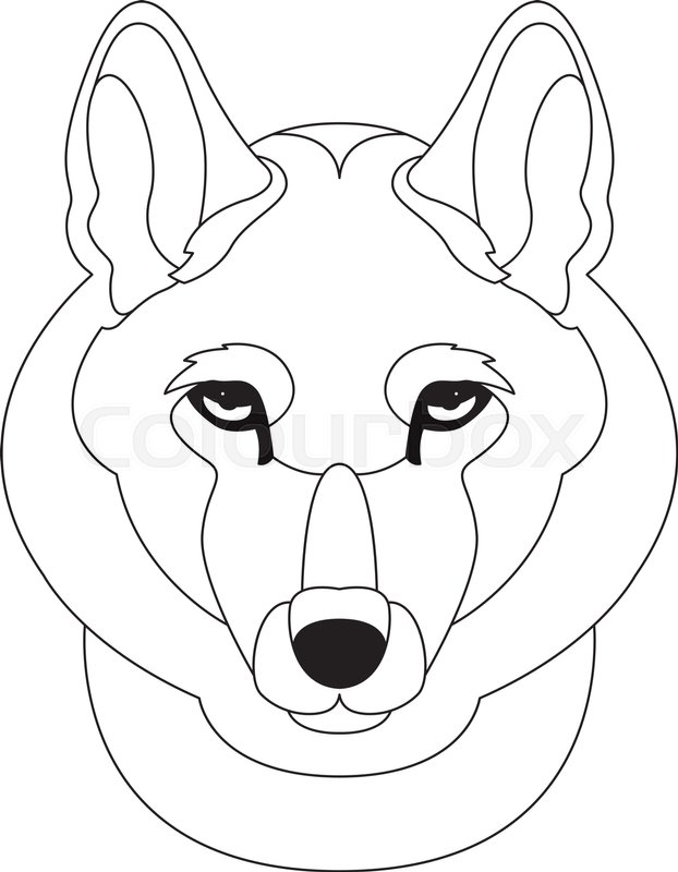 622x800 Wolf Face Head Vector Illustration Line Drawing Stock Vector