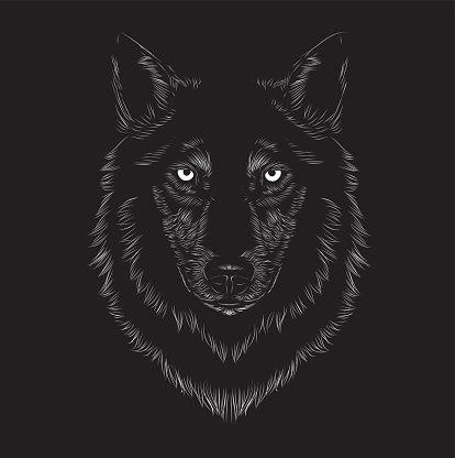 414x416 Wolf Face Vector Art Illustration Panou Animal