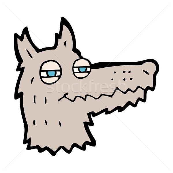 600x600 Cartoon Smug Wolf Face Vector Illustration Lineartestpilot
