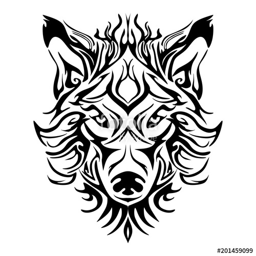 500x500 Wolf Face Head Or Wolf Face Design For Tribal Tattoo Style Vector