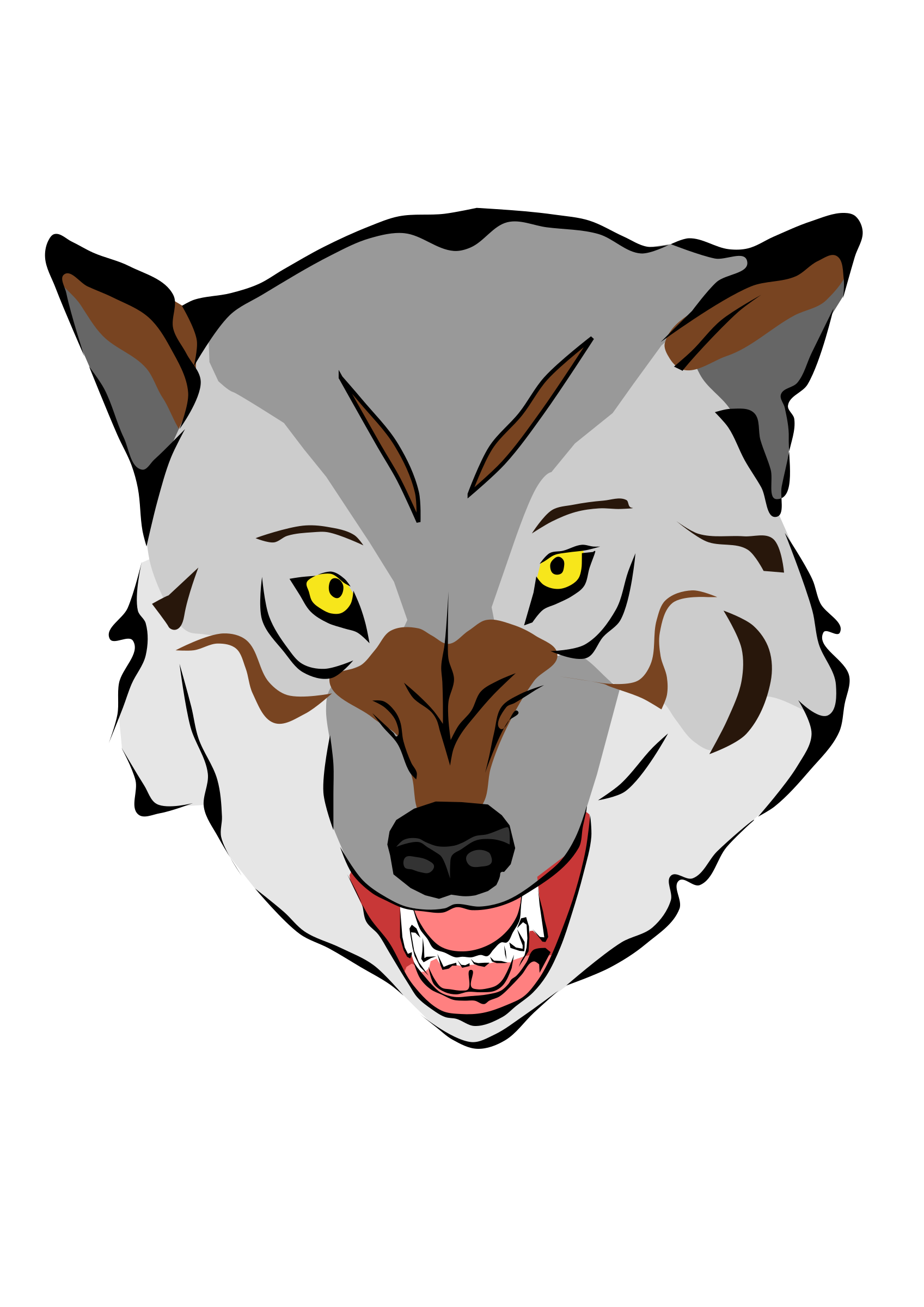 1697x2400 Collection Of Free Wolf Vector Face. Download On Ubisafe