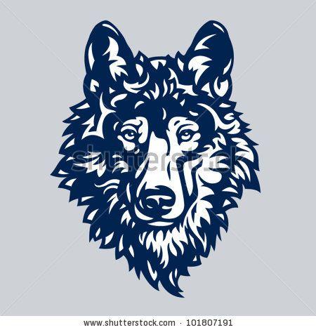 450x470 Stylized Graceful Gray Wolf Head, Vector Illustration By Dorottya