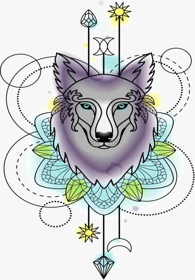 650x932 Watercolor Wolf Head Totem, Watercolor Vector, Wolf Vector, Head