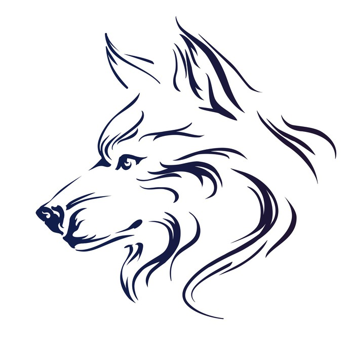 693x700 Wolf Head Vector Illustration Wall Mural We Live To Change