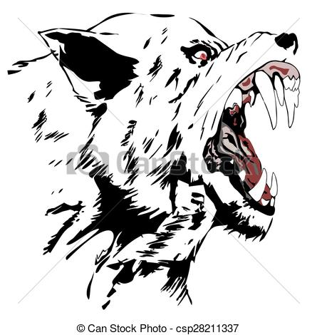 445x470 Black Wolf, Cartoon Angry Wolf Head, Vector Illustration Of Wolf Face.