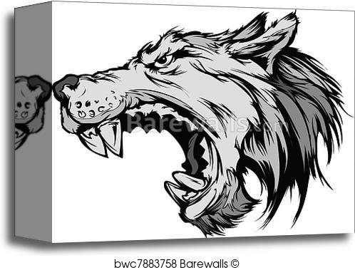 498x379 Canvas Print Of Wolf Mascot Head Vector Cartoon Barewalls