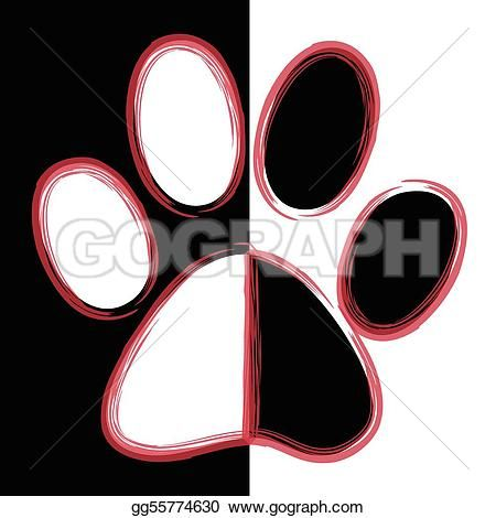 450x470 Paw Print Lobos Vector Clipart, Printing And