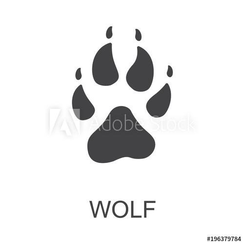 500x500 Vector Illustration. Wolf Paw Prints Logo. Black On White