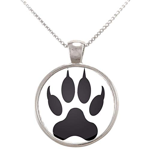 523x523 Vector Illustration Of Wolf Paw Print Pendant Necklace