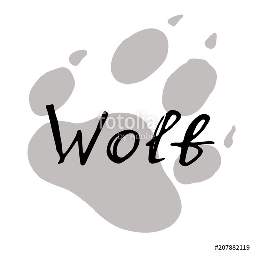 500x500 The Paw Print Of A Wolf. Grey Trail Of A Wild Beast. Lettering