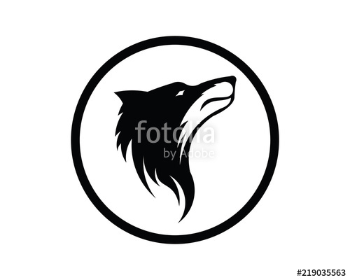 500x400 Silhouette Of The Wolf. Vector Logo. Wildlife. Wild Wolf. Vector