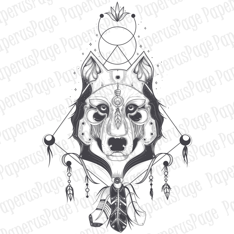 3000x3000 Wolf Vector Drawn Wolf Illustration Tattoo Wolf Tattoo Etsy