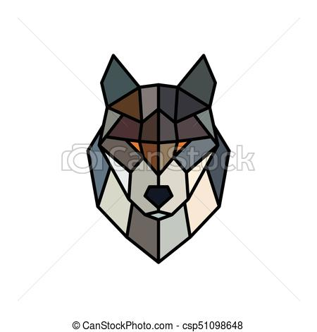450x470 Head Of A Wolf. Logo Template. Abstract Mascot. Colorful Polygonal