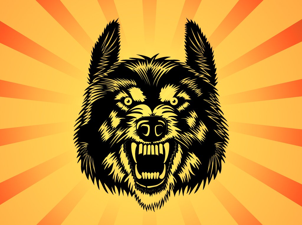 1024x765 Angry Wolf Vector Vector Art Amp Graphics