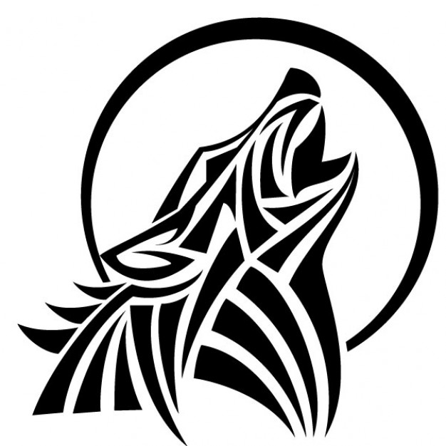 626x626 Howl Wolf Vector Tribal Style Vector Free Download