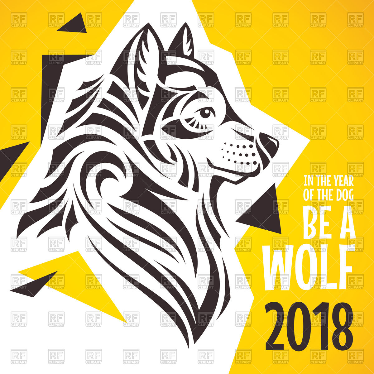 1200x1200 Creative 2018 New Year Greeting Card With Wolf Vector Image