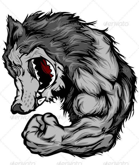 590x700 Wolf Mascot Flexing Arm Vector Cartoon By Chromaco Graphicriver