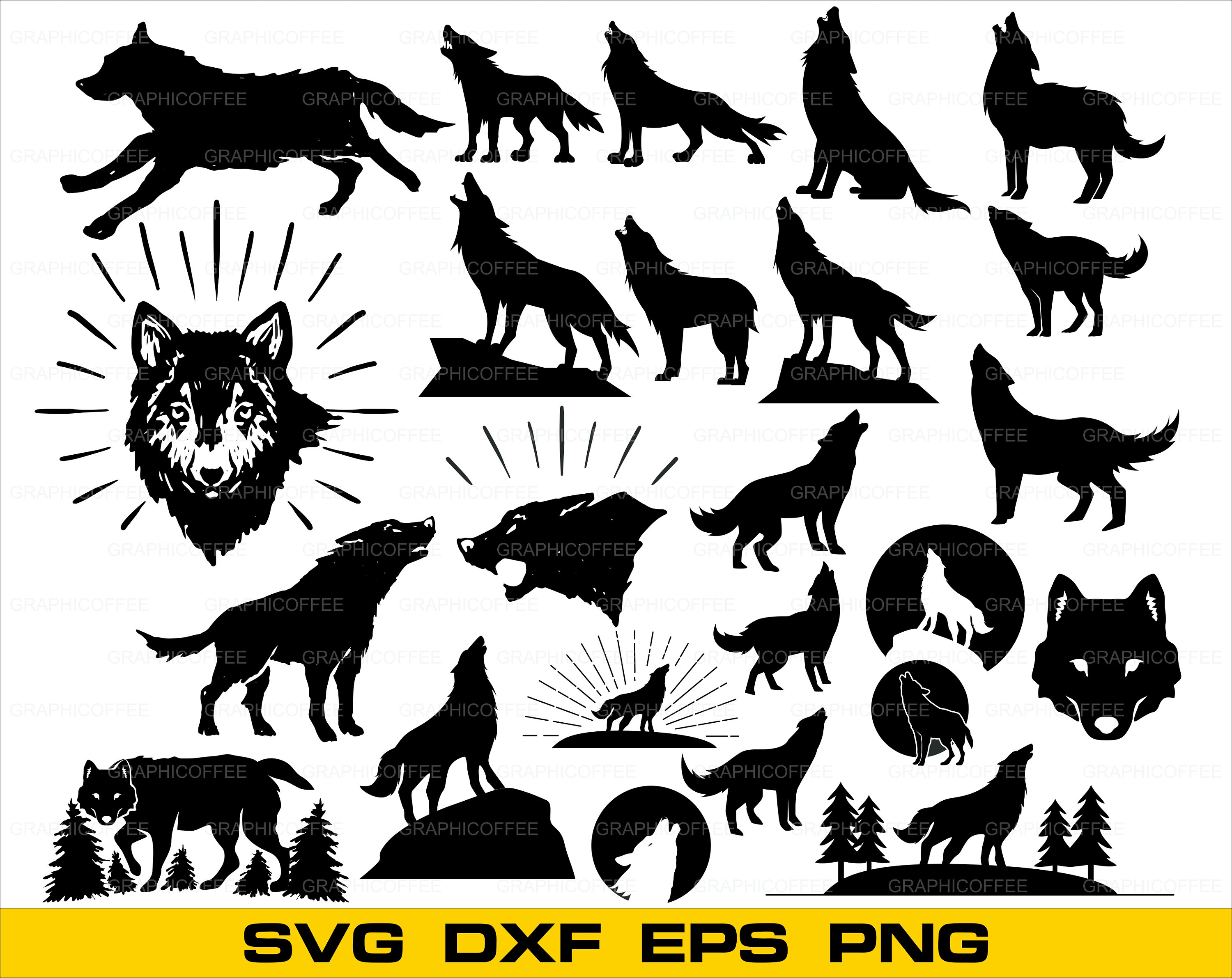 3000x2383 Wolf Svg Bundle Wolf Svg Clipart Wolf Cut Files For Etsy