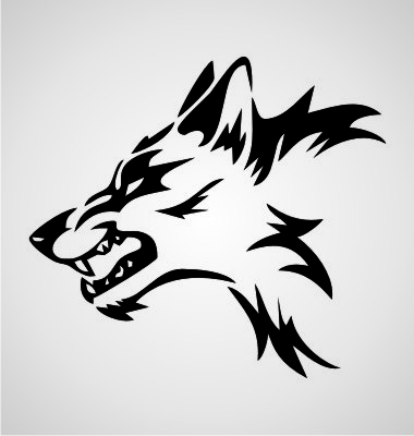 380x400 Collection Of Angry Wolf Tribal Drawing High Quality, Free
