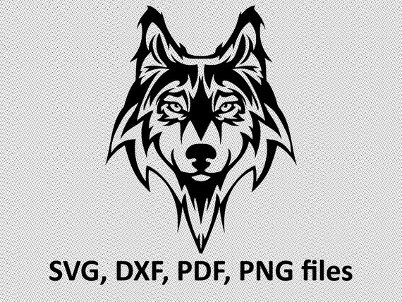 570x428 Wolf Svg Wolf Dxf Wolf Clipart Wolf Files Tribal Symetric Etsy