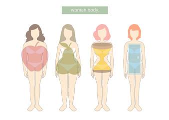 339x240 Set Of Female Body Shape Types,vector Illustrations