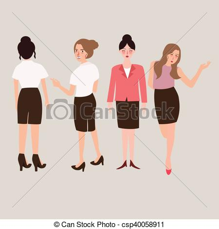 450x470 Business Woman Standing Isolated Female Full Body. Business Woman